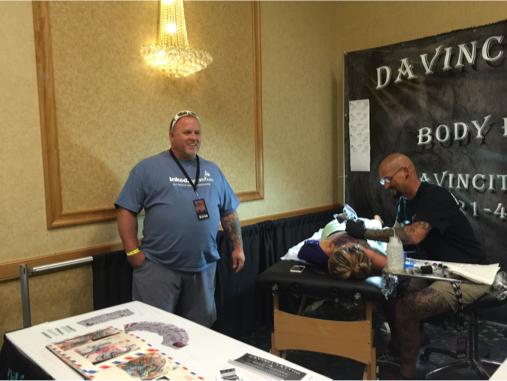 Chris visiting the Davinci booth